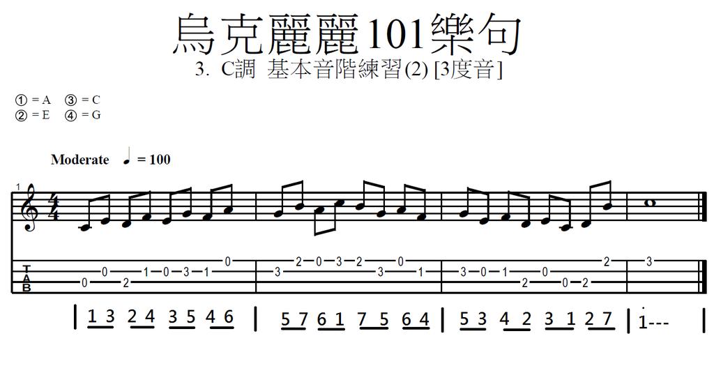 003. 烏克麗麗101樂句 2. C調基本音階練習 (2) 三度音.png