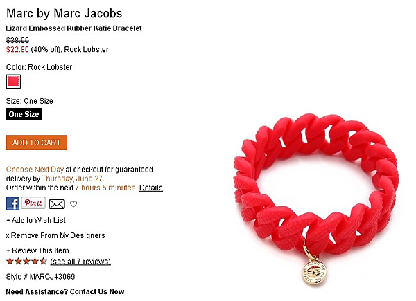 Marc by Marc Jacobs Lizard Embossed Rubber Katie Bracelet   SHOPBOP   Use Code  EXTRA25 for 25  Off Sale Items.png