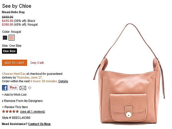 See by Chloe Maani Hobo Bag   SHOPBOP   Use Code  EXTRA25 for 25  Off Sale Items