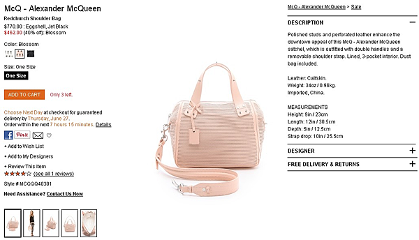 McQ - Alexander McQueen Redchurch Shoulder Bag   SHOPBOP   Use Code  EXTRA25 for 25  Off Sale Items (1)