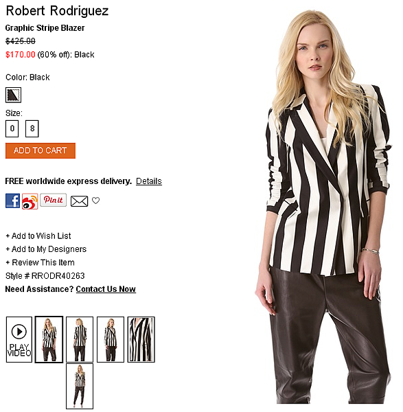 Robert Rodriguez Graphic Stripe Blazer   SHOPBOP