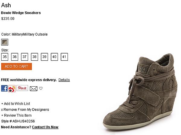 Ash Bowie Wedge Sneakers   SHOPBOP