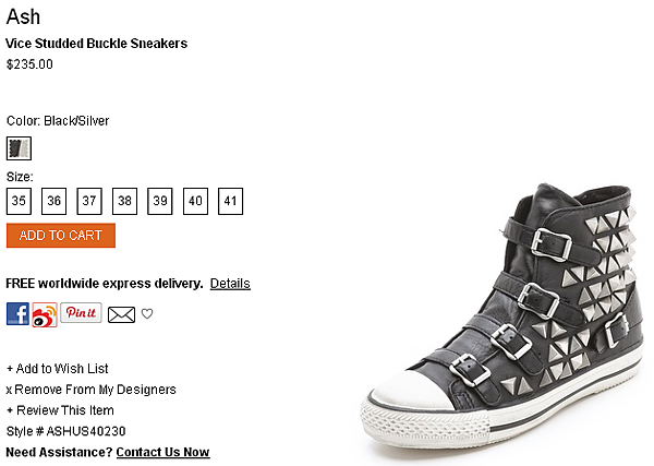 Ash Vice Studded Buckle Sneakers   SHOPBOP