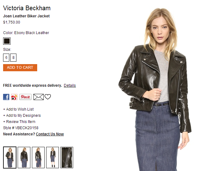 Victoria Beckham Joan Leather Biker Jacket   SHOPBOP