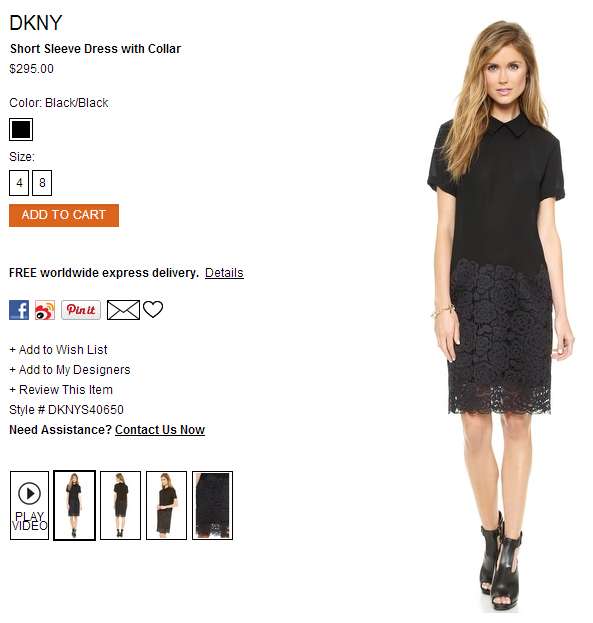 DKNY Short Sleeve Dress with Collar   SHOPBOP.png
