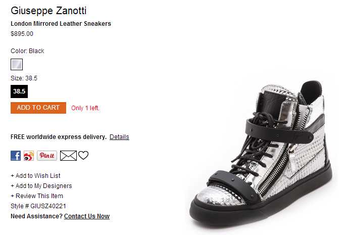 Giuseppe Zanotti London Mirrored Leather Sneakers   SHOPBOP
