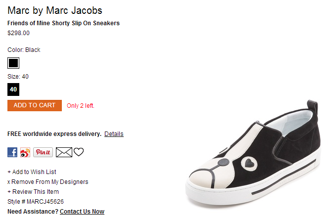 Marc by Marc Jacobs Friends of Mine Shorty Slip On Sneakers   SHOPBOP