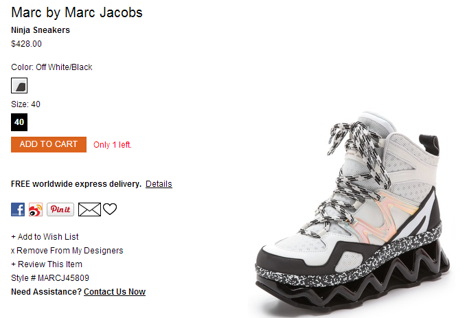 Marc by Marc Jacobs Ninja Sneakers   SHOPBOP