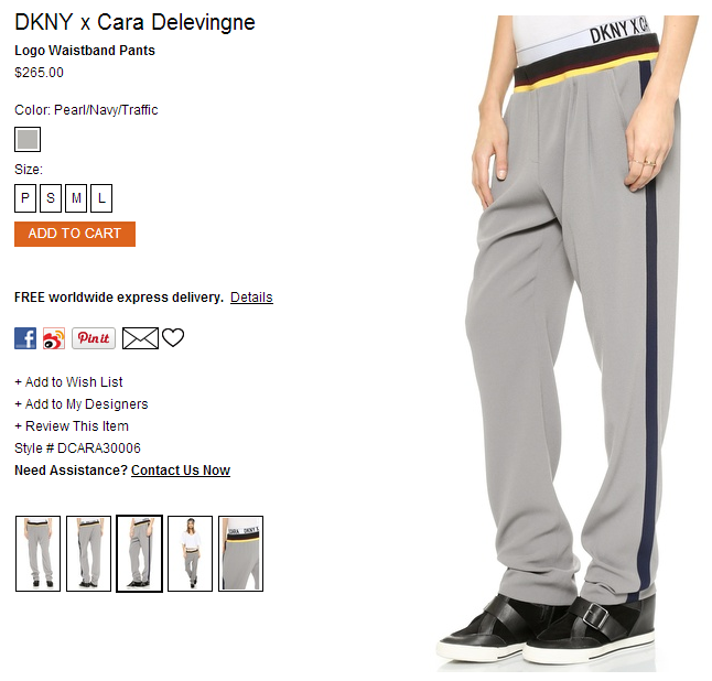DKNY x Cara Delevingne Logo Waistband Pants   SHOPBOP