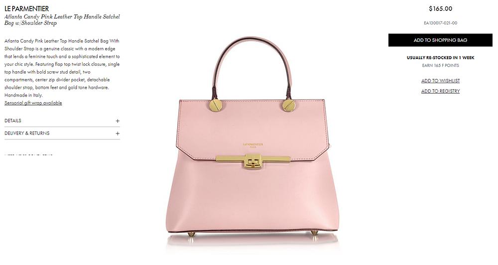 Le Parmentier Atlanta Candy Pink Leather Top Handle Satchel Bag w Shoulder Strap at FORZIERI.png