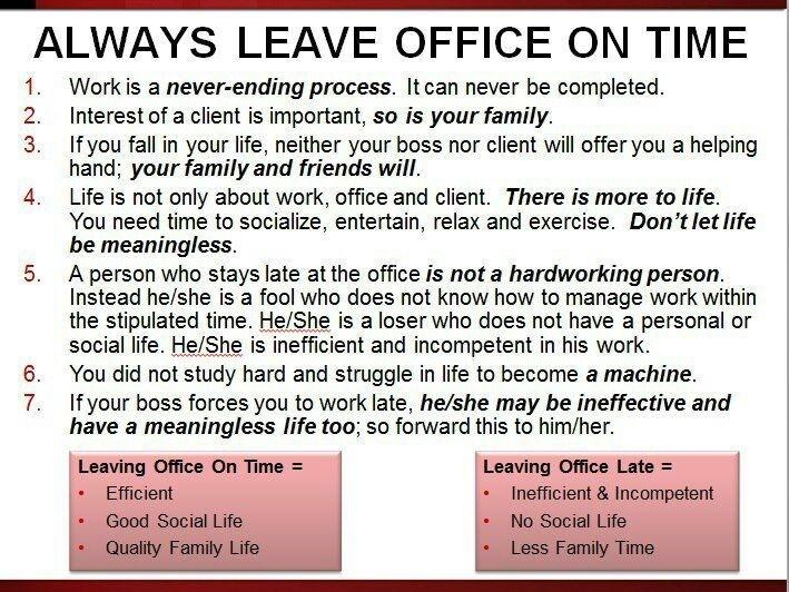 leave office on time