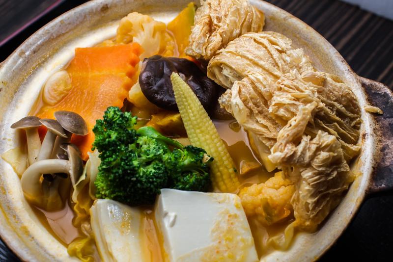 溫野菜蔬食鍋物定食(奶素)。