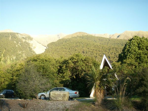 PICT2034-Our resort at Makarora on Haast Highway, and our chariot the Camry of 1998 model.JPG