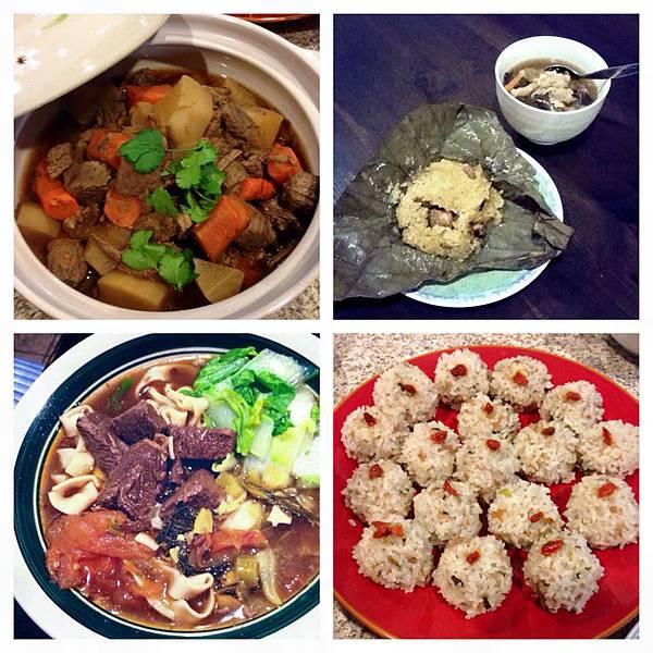 砂鍋燉蘿蔔牛腩、糯米雞、川味蕃茄牛肉麵、珍珠丸、