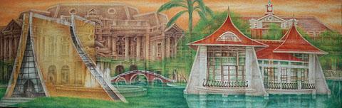 簡錦清所繪的膠彩畫「台中之美」.2005.448x145cm