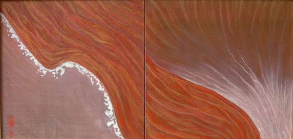 《洄》,膠彩,紙本,61x30.2cm,2010