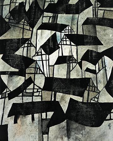 民居∣1987   油彩、畫布,71.5×90cm