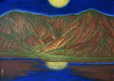 《靜夜》,膠彩,紙本,83.5x58.7cm,2010A