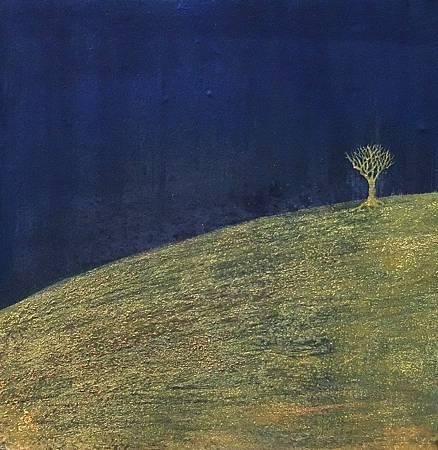《行路》小品,膠彩、紙本,28 x 28cm,2008正