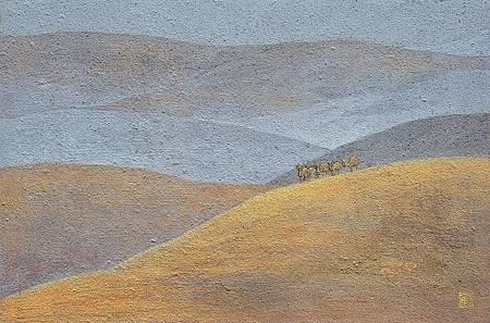《行路》小品,膠彩、紙本,48x 31cm,2012