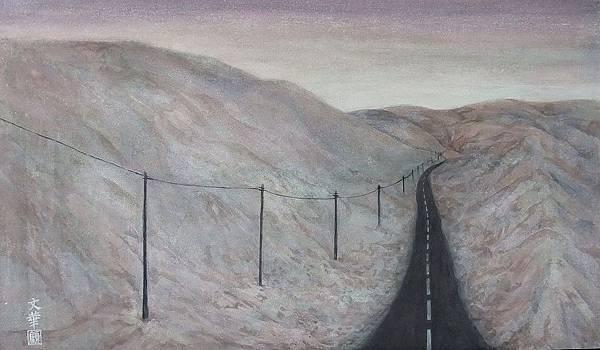 《行路一》,膠彩,紙本,70x40.1cm,2010