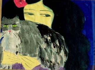 丁雄泉, 女人與貓, 1983年作.jpg