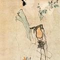 明 唐寅 牡丹仕女圖 立軸 紙本設色  縱125.9釐米 橫57.8釐米  上海博物館藏.jpg