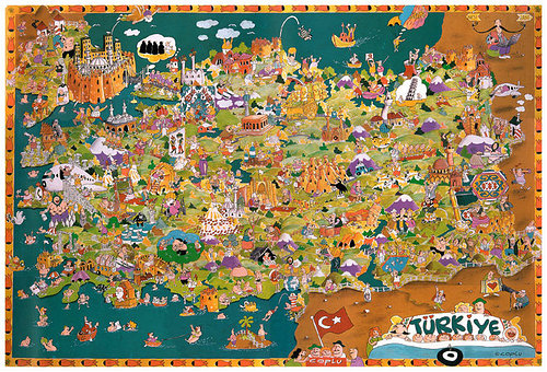 Tureky Map in cartoon