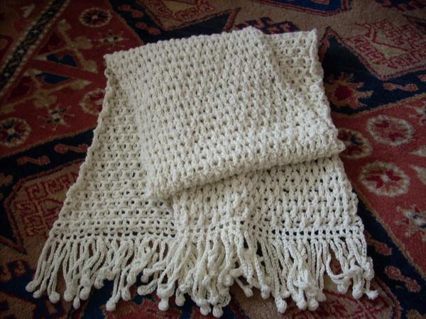 米白手勾圍巾