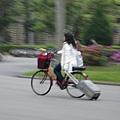 轉眼突然看到一位小姐以飛快的速度騎腳踏車拖著行李箱