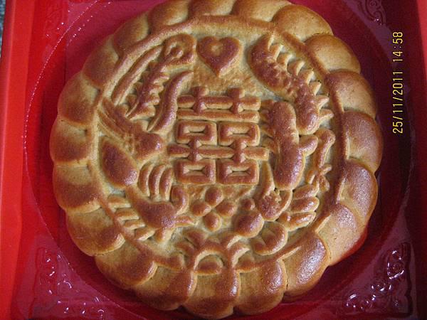 囍餅-鴛鴦餅(紅豆麻糬餅),蔓越莓鳳梨餅外觀