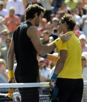 Juan Martin Del Potro is congratulated by Rafael Nadal.JPG