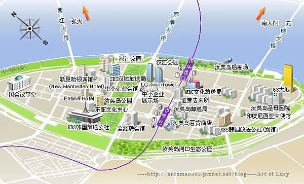 韩国旅游首尔汝矣岛地区示意图拷貝