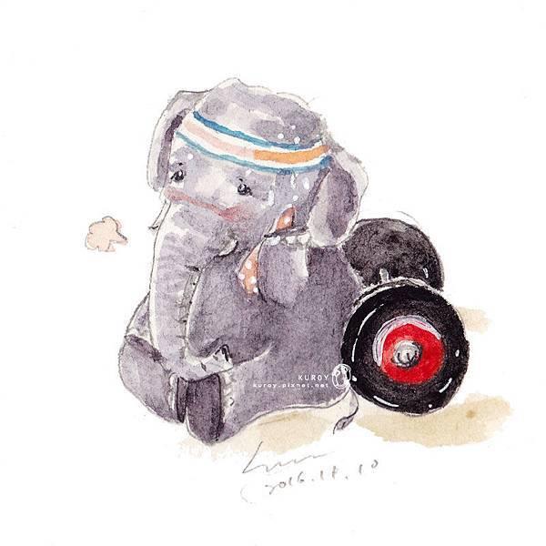 20161111運動後累累的矮小象.jpg