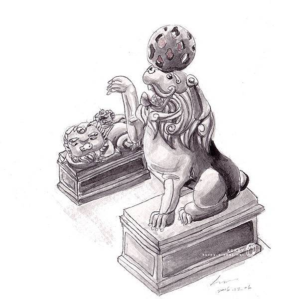 20161207寺廟石獅子的日常.jpg