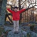哥哥看到岩石就迫不及待的爬上去