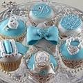 藍色蝴蝶結杯子蛋糕