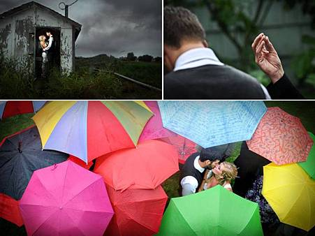 colorful-umbrellas-for-rainy-outdoor-backyard-wedding-bride-groom-kiss