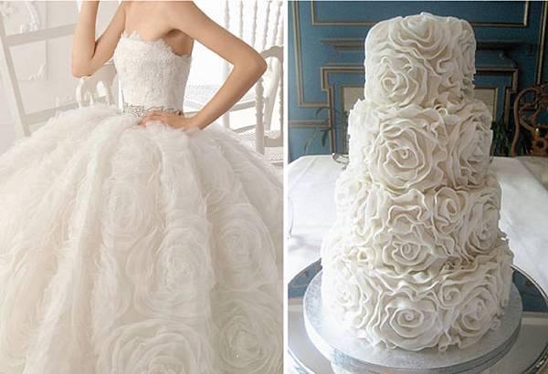 如禮服設計的結婚蛋糕
