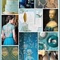 青色與金色的皇室婚禮的風