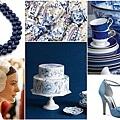 藍白復古花紋