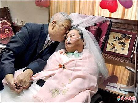「拍婚紗圓夢」植物人老伴披白紗 陶爺爺深情吻