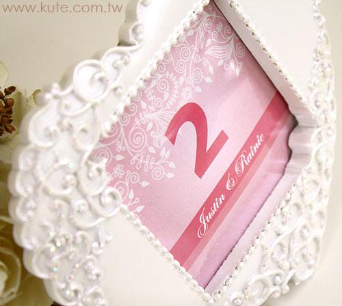 可艾婚禮小物_愛心浮雕婚紗相框 桌號卡