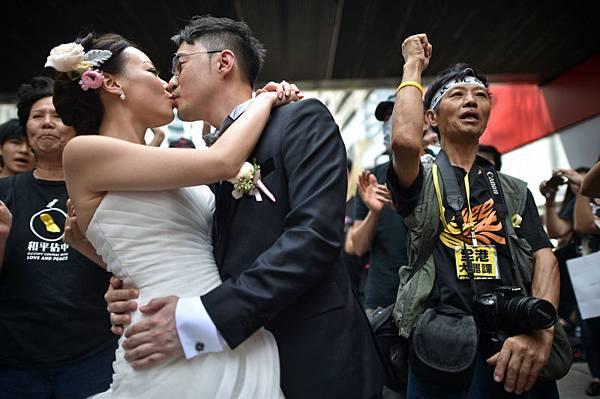 香港佔中現場婚禮