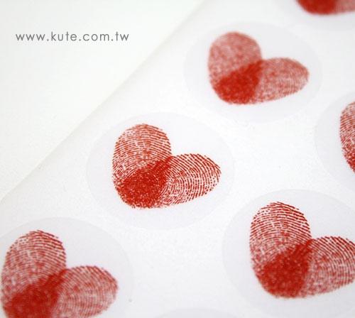 可艾婚禮用品 愛心指紋貼紙