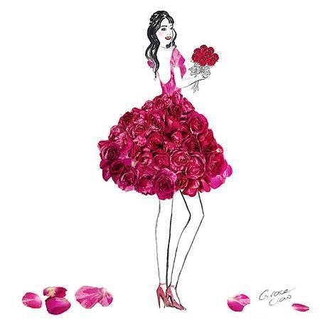新加坡時尚插畫家Grace Ciao 花瓣禮服