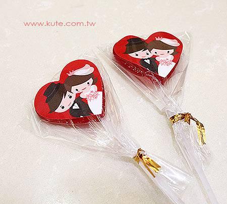 二次進場禮物 Q版新郎新娘 心型愛心棒棒糖喜糖