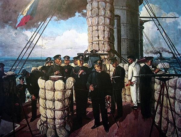 1894年東鄉平八郎在旗艦「三笠號」艦橋上指揮對馬海峽海戰畫像