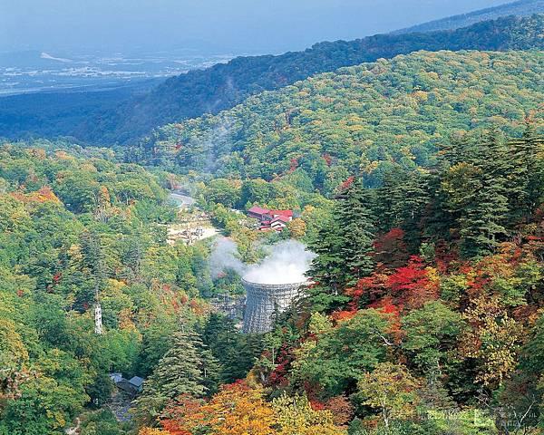 初秋の松川地熱発電所付近の紅葉