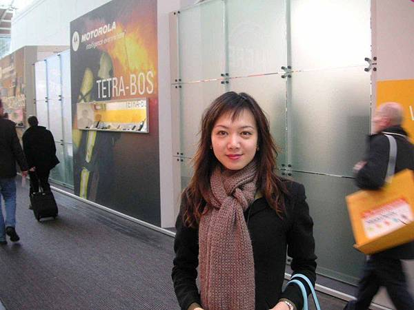 Nikki in front of Motorola booth